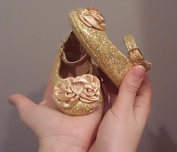 Sparkly Gold Glitter Baby Shoes with Rosettes and Sparkly