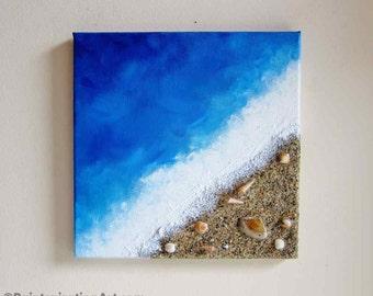 Beach Painting Ocean Decor with Real Sand and Seashells Art - Coastal Home Decor Textured Art - Mixed Media Canvas Art - Beach Wall Art