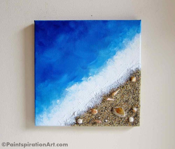 Items Similar To Beach Painting Ocean Decor With Real Sand