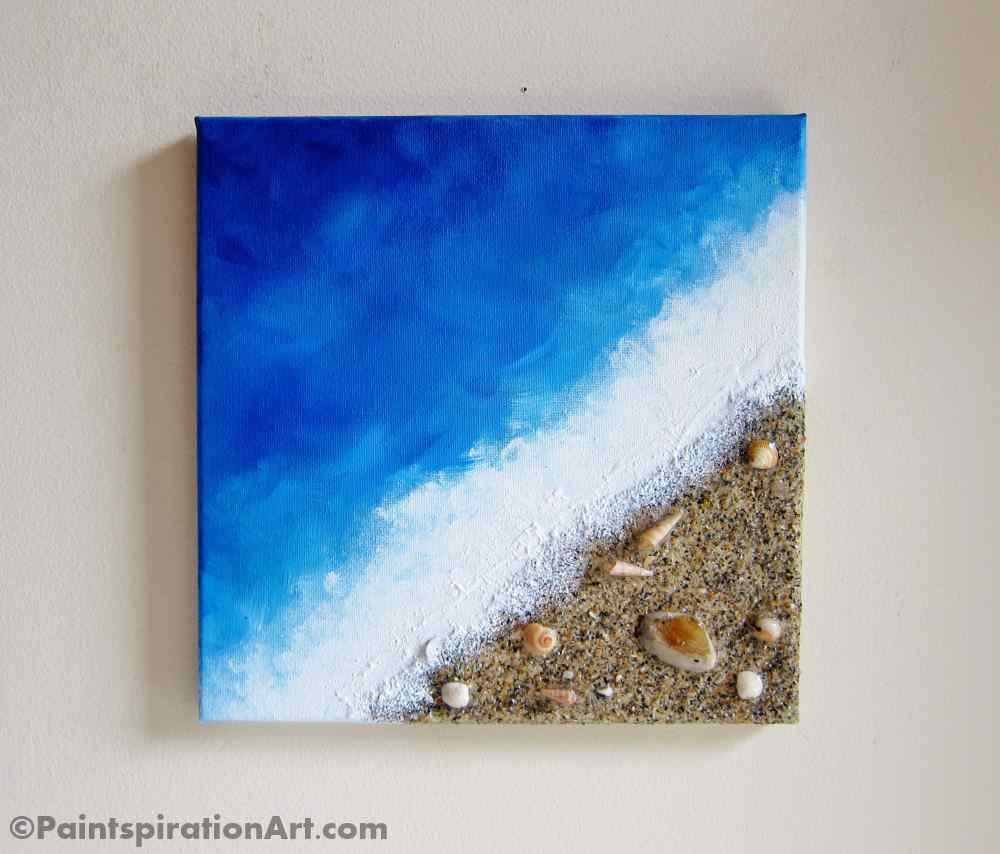 Beach painting ocean decor with real sand and seashells art - Decor plage ...