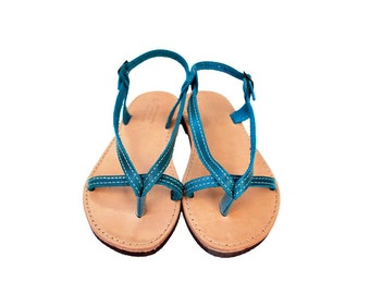 Women Sandals in Blue made with 100% Greek high quality leather