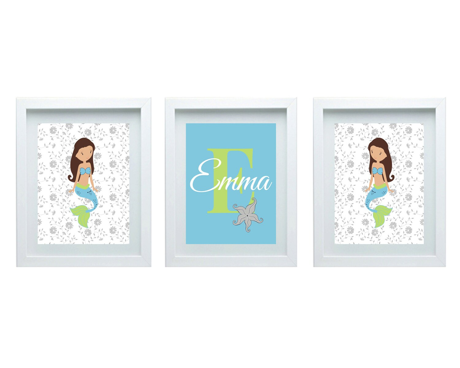 art for girls bedroom mermaid decor personalized name wall art
