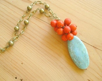 Red and Turquoise cluster vintage long necklace