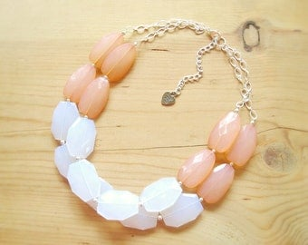 Coral and white statement necklace, Coral statement necklace