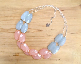 Mint and Coral colorblock Necklace, Mint and Coral statement necklace