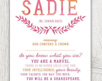 Printable nursery art - You are a marvel quote with baby's name and meaning - Personalized gift for new baby - Shower gift - Customizable