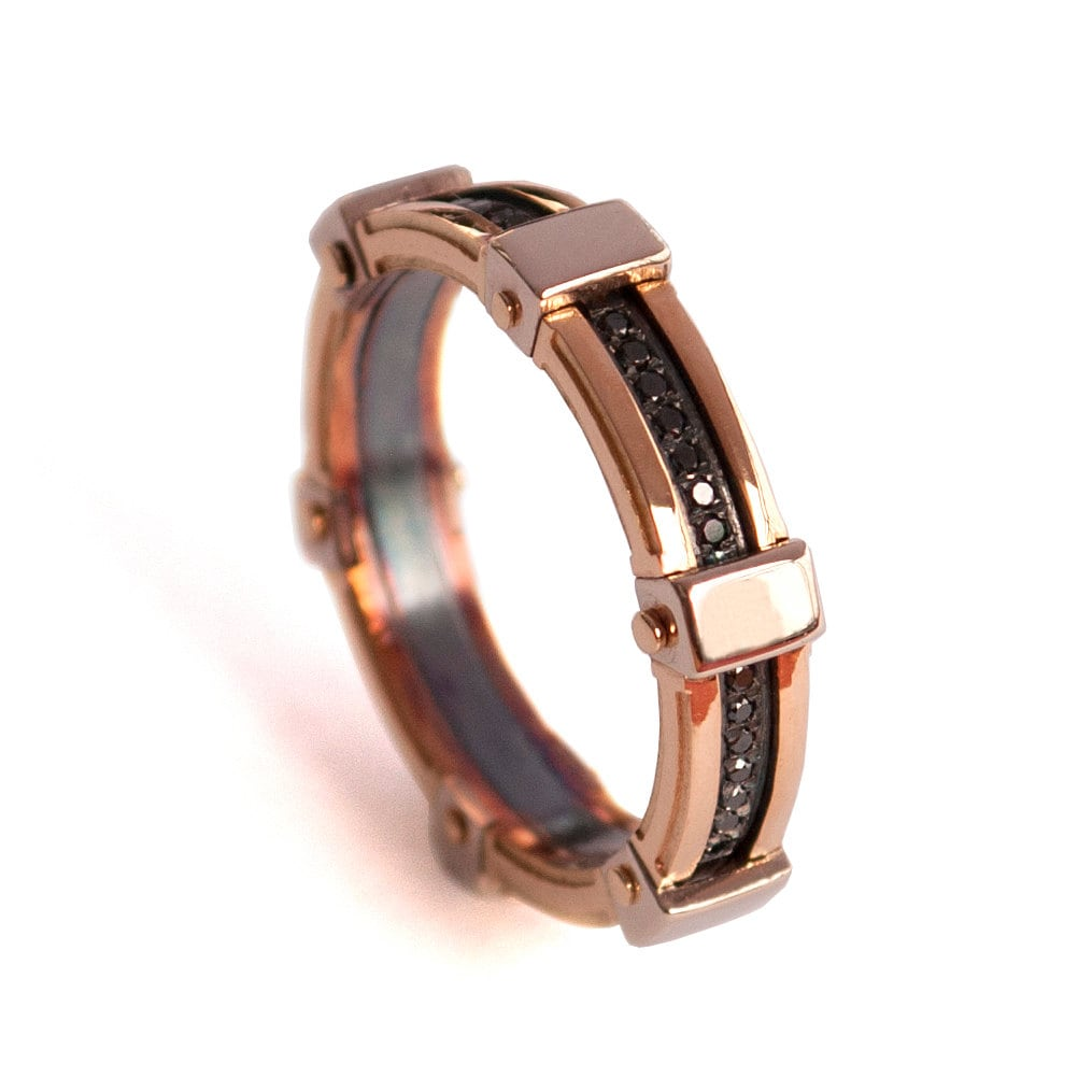 gold wedding band men 39 s 18k rose gold and black diamond. Black Bedroom Furniture Sets. Home Design Ideas