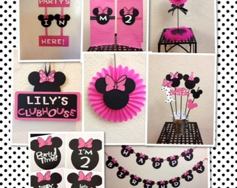 Minnie Mouse Birthday Decorations Lot - Centerpiece/Banner/Door Sign Personalized
