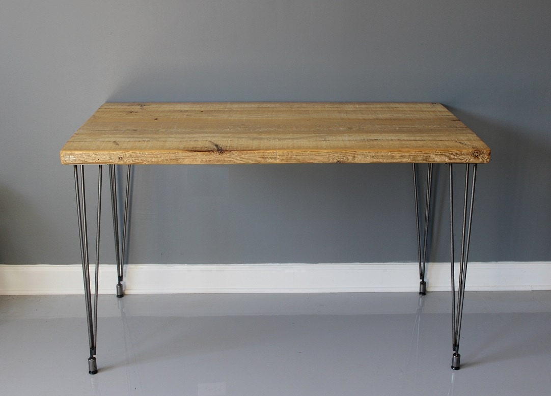 Natural Wood Dining Table With Hairpin Legs Reclaimed By