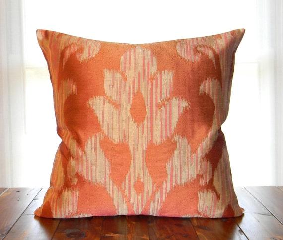 Pillow Cover, Orange Pillow Cover ,  Throw Pillow, 18 x 18 Pillow Cover