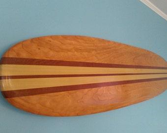 Surfboard Wall Hanging Art -  6 ft. Solid Wood- Vintage Surfing Decor - Old School Hawaiian Surf Design
