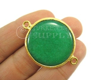 26mm Emerald Green Bezel Connector, Round Smooth Jade Connector, Gemstone Connector, Gold Plated Bezel, Turkish Connector, Turkish Jewelry