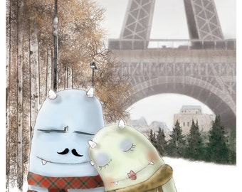 Sweet and Tender Demons series. I Love Paris In Winter. Illustration edition print by Paco Valverde