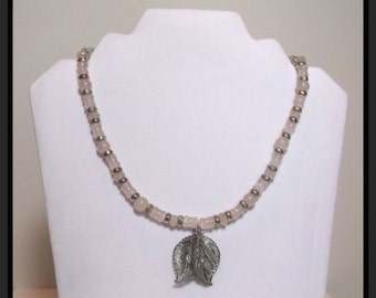Natural Rose Quartz and Silver Beaded 18 inch Necklace with Silver Mesh Leaves Pendant  One of a Kind