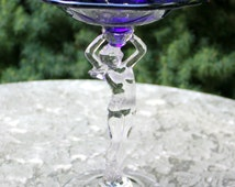 Antique Cambridge Nude Steam Royal Blue Compote. Flared Comport Glass.  Beautiful Highly Collectible Piece.