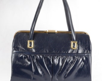 60s Vintage Mad Men Inspired Handbag Navy Blue Frame Handbag