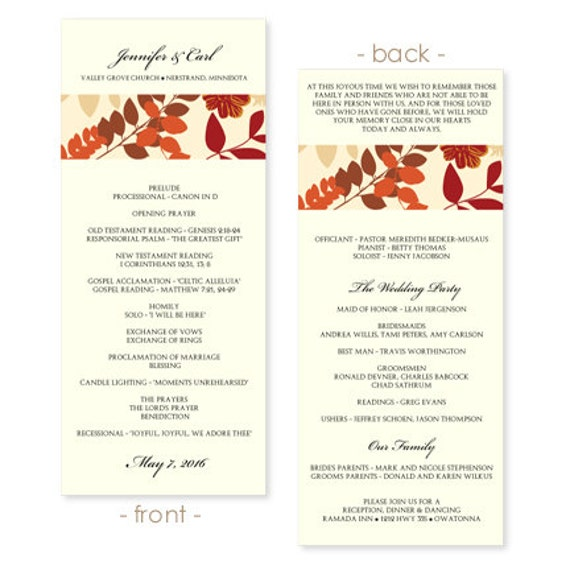Wedding Program Template Collage Fall Leaves by KarmaKWeddings