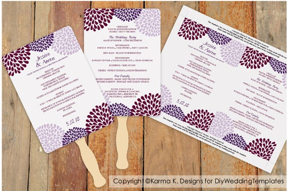 diy wedding fan program template download instantly editable text