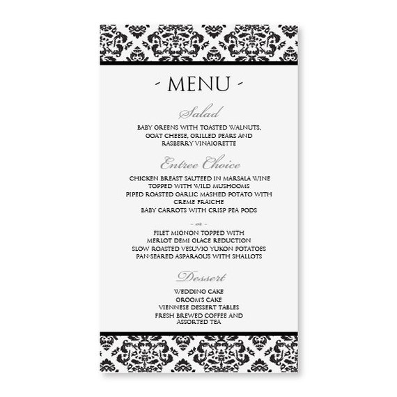 Diy menu card template instant download edit by karmakweddings for Roman menu template