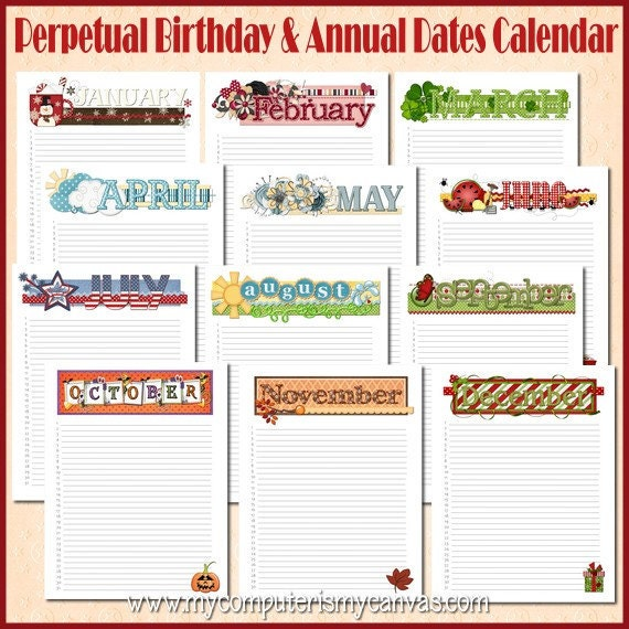 Items similar to Annual Birthday Calendar Yearly Date Organizer – Perpetual Calendar Template
