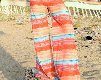 WIDE LEG palazzo coral aqua stripe flare leg bell bottom gypsy hippie retro festival tropical resort  pants