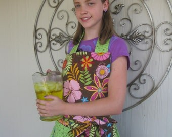 SALE Brown and Lime Green Tropical Full Apron SALE