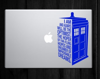 Dr Who's Tardis Decal Quote - Police Call Box Quote Sticker : Laptop sized Decal