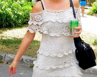 Handmade Crocheted Women Dress Cotton Gray Summer, MADE TO ORDER