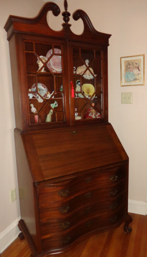 Antique Slant Front Secretary Desk Bookcase Mahogany Ball And