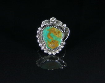 Natural Turquoise Ring Sterling Silver Handmade Size 8.0, R0155