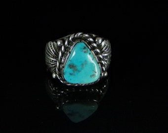 Reserved for Robin B; Natural Turquoise Ring Sterling Silver Handmade Size 7.0, R0192