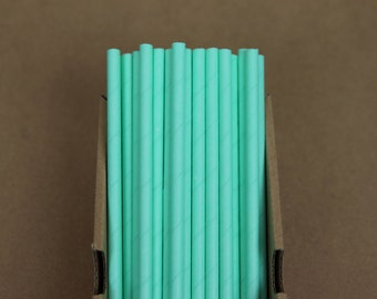 25 solid turquoise straws (PS3010)  party straws - with printable DIY flags