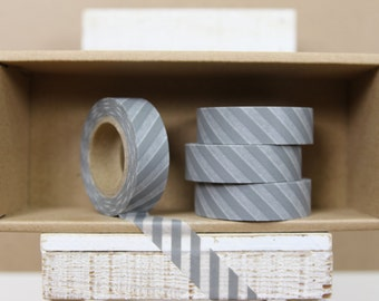 Washi Tape - diagonal grey stripes  - 8001