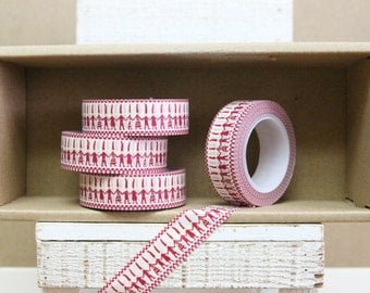 Washi Tape - hand-in-hand little red men - 1020