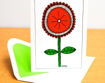 Blank Card - Red Flower