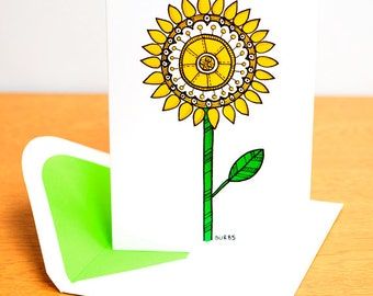 Blank Card - Yellow Flower