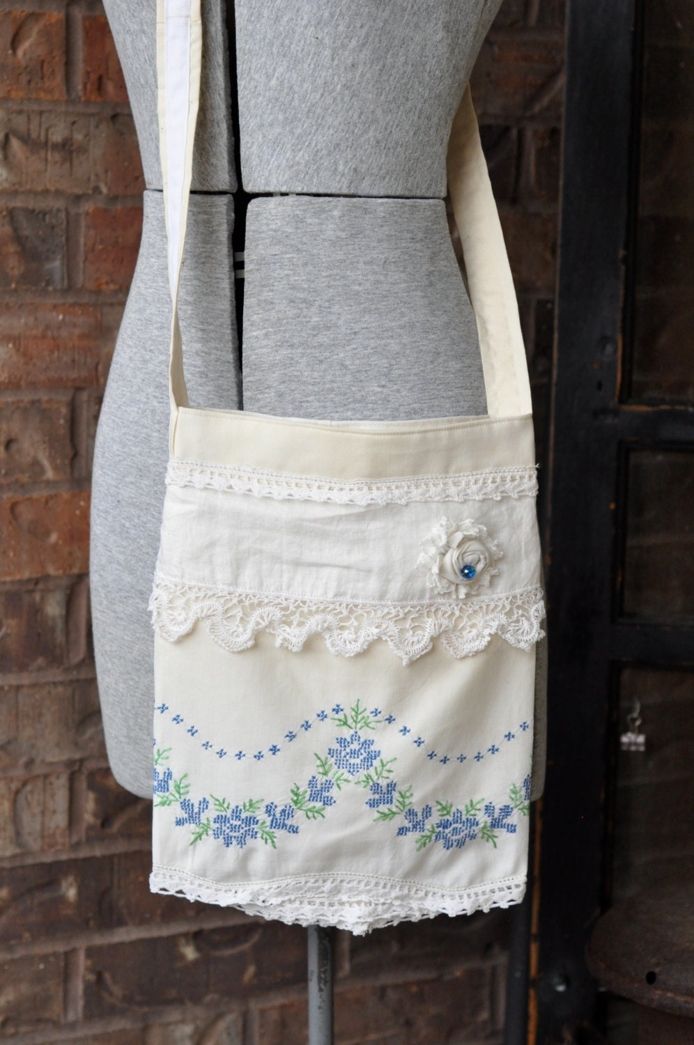 Shabby Chic purse Repurposed vintage pillowcase Cross Body