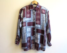 Wine Red Grey Satin Blouse Womens Shirt Color Block Oriental Print Blouse Long Sleeve Buttons Up Top Medium Size