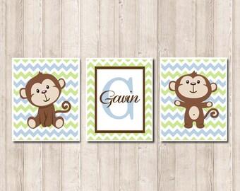 Boy Monkey Nursery Art Monkey Nursery Decor Cehvron Monogram Baby Blue  Nursery Honeydew Monkey Pictures Set