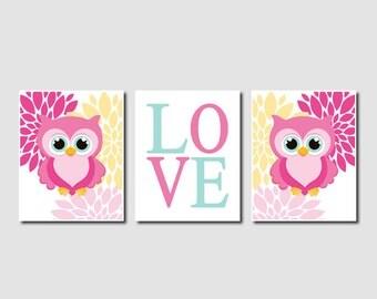 Owl Nursery Decor Owl Wall Art Pink Baby Girl Nursery Art Girl Nursery  Decor Owl Decor