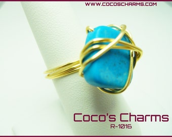 Blue Squared Stone Wrapped Ring - R-1016
