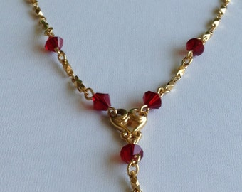 Avon Gold-tone and Red Necklace (Item 105M)