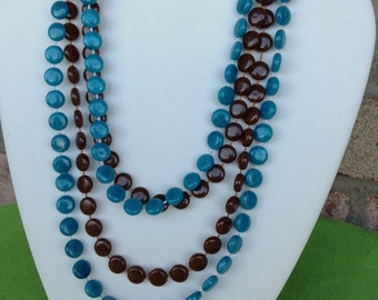 Vintage Long Teal and Brown Plastic Bead Necklaces (Item 1020)