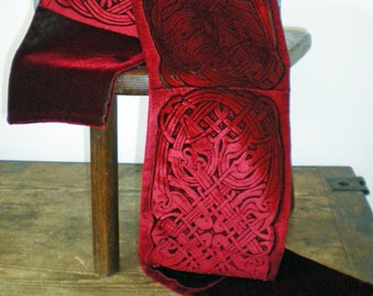 Hand printed embossed deep crimson velvet scarf celtic design