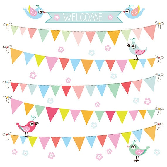 Triangle Bunting Banner Digital Clip Art Paper By SollaDesign