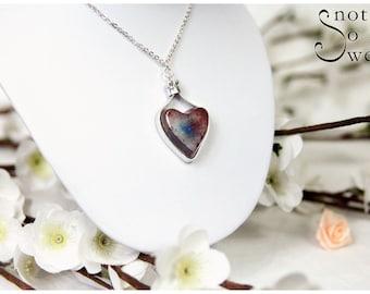 Necklace heart resin/Aluminum Pink & blue transparent