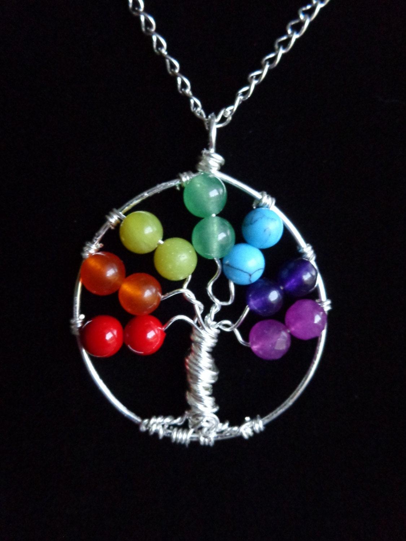 Seven Chakras Pendant Tree Of Life Pendant Gemstones