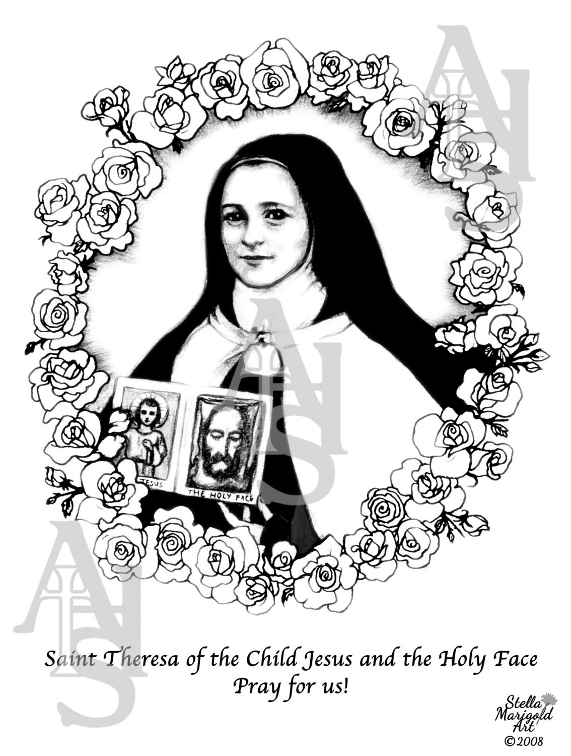 saint theresa of the child jesus and the holy face coloring