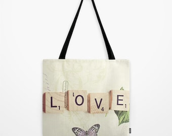 Love scrabble Tote Bag, Love sign Tote Bag, Love Tote Bag, Accessories, Shoulder Bag, Fine Art Photography