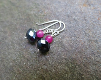 Black and magenta beaded earrings - Sterling Silver ear wire
